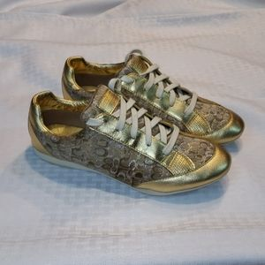 Coach Q410 7.5 Gold Sneaker Lace Reese Metallic